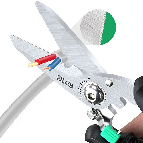 LAOA Multifunctional Scissors Made in Taiwan With safety Lock Stainless Shears Cutting Leather Wire cutters Household scissors