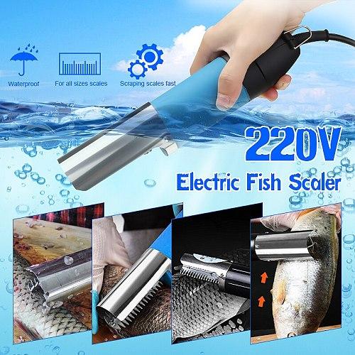 100W 220V Electric Fish Scaler Waterproof Fishing Scalers Clean Fish Remover Cleaner Descaler Scraper Seafood Tools EU Plug