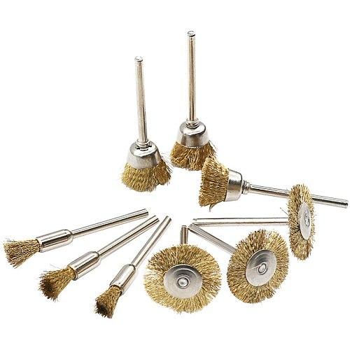 Brass Wire Brush Fits For Dremel Rotary Tool Accessory 1/8  (3mm) Shank 9pcs/set 3pcs
