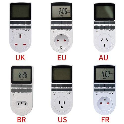 Electronic Digital Timer Switch EU US FR BR Plug Kitchen Timer Outlet 230V 110V 7 Day 12/24 Hour Programmable Timing Socket