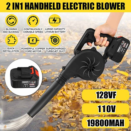 128VF 19800mAh Electric Handheld Cordless Air Blower Vacuum Dust Cleaner Leaf House Cleaning Blowing And Suction with 1 battery