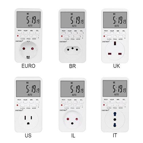 Electronic Digital Timer Switch EU BR UK US IL Plug Kitchen Timer Outlet 230V 120V 7 Day 12/24 Hour Programmable Timing Socket