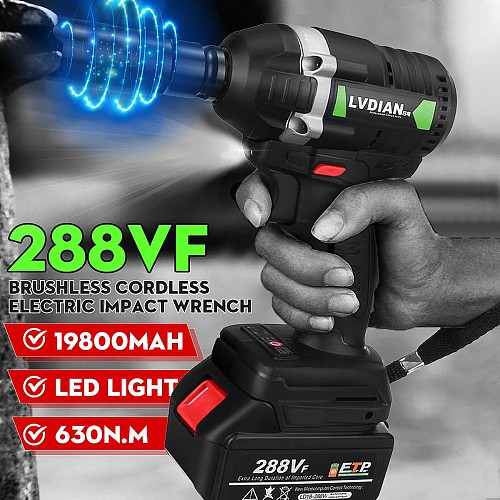 288VF 19800mAh 630N.m Cordless Lithium-Ion battery Electric Impact Wrench Cordless Brushless with Rechargeable Battery 100-240V