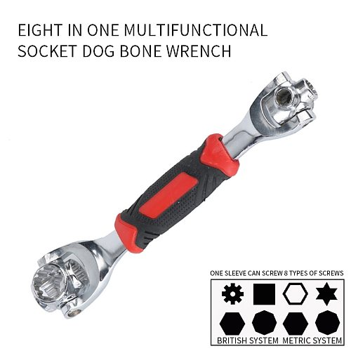 48 in 1 Socket Wrench Rotary Spanner Work with Spline Bolts 360 Degree Rotation Spanner Universal Furniture Car Repair Hand Tool
