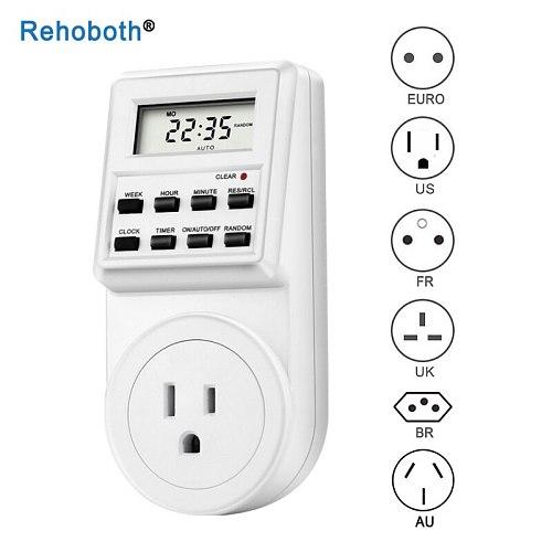 AC 220V/110V EU UK US FR BR Plug Digital Weekly Programmable Electrical Wall Plug-in Power Socket Timer Switch Outlet Time Clock
