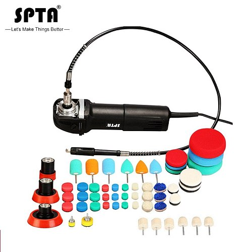 SPTA Mini Car Polishing Machine Rotary Polisher RO Polisher Auto Detailing Super polish with 58Pcs Polishing Pad Mix Size Kit