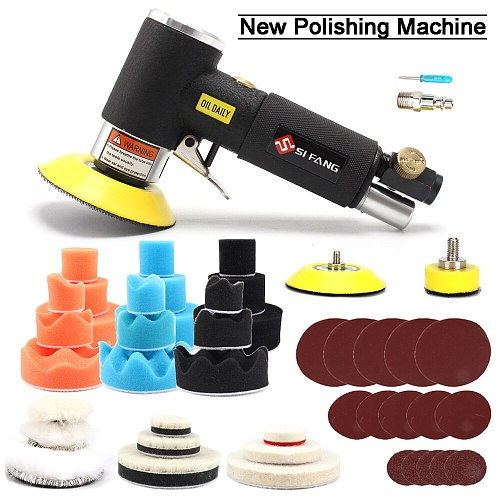 2'' 3'' Mini Orbital Air Sander DA Air Sander for Auto Body Work With Polishing Pads Sponge Waxing Buffing Kit