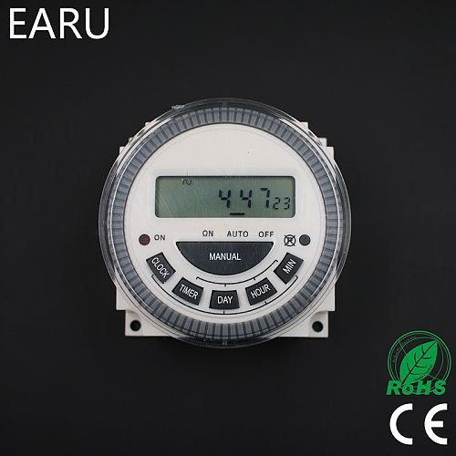 EARU TM619 AC 220V 230V 240V Digital LCD Power Timer Programmable Time Switch Relay with UL listed relay 16A, easy wiring.