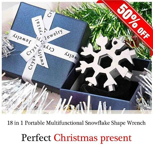 Mintiml™ 18-in-1 Stainless Steel Snowflakes Multi-Tool Shape Wrench 420 Multifuction Octagonal Wrench Christmas Gift