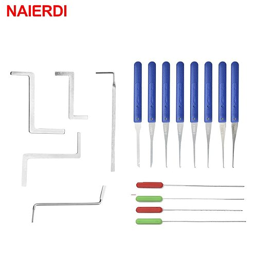 17PCS NAIERDI Locksmith Supplies Hand Tools Lock Pick Set Row Tension Wrench Tool Broken Key Auto Extractor Remove Hook Hardware