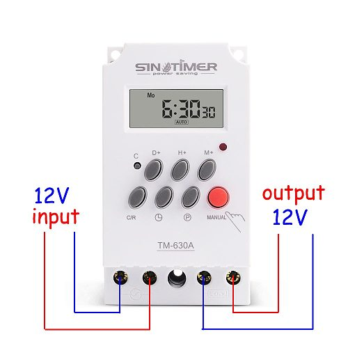 12V DC Input 7 Days Programmable 24hrs MINI TIMER SWITCH Time Relay Output Load High Power 30A