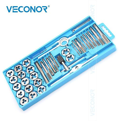 40PCS M3-M12 Metric Tap and Die Set Tap Drill Bits Tap Wrench Threading Tools For Metalworking