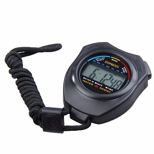 ABS Waterproof Digital Professional Handheld LCD Chronograph Handheld Sports Stopwatch Timer Stop Watch With String