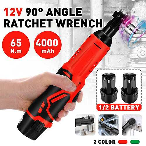 Electric Wrench 3/8  Cordless Ratchet 12V Rechargeable Scaffolding 65N.m Right Angle Wrench Tools with 2Pcs Battery Charger Kit