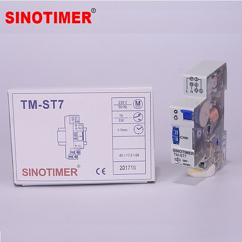 7 Minutes 20 Minutes Interval Factory Price 18mm Single Module DIN Rail Staircase Timer Switch for Staircase Lighting Controls