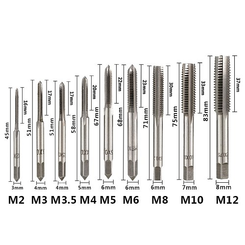 Hampton 3pcs HSS Hand Tap Set Right Hand Metric Thread Tap M2 M2.5 M3 M3.5 M4 M5 M6 M8 M10 M12 Screw Tap Drill Straight Plug Tap