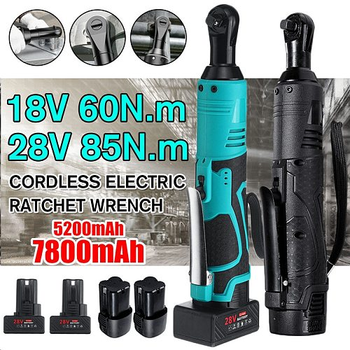 Electric Wrench 18V/28V Cordless Ratchet Rechargeable Scaffolding Right Angle Wrench 3/8  with 1/2 Battery Charger Power Tool
