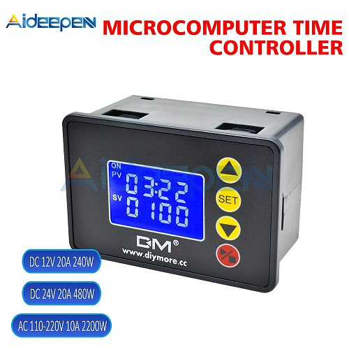 Timer Relay AC 110-220V DC 12V 24V 1.37'' LCD Display Microcomputer Time Controller Delay Relay Module ON-OFF Control 0000-9999S