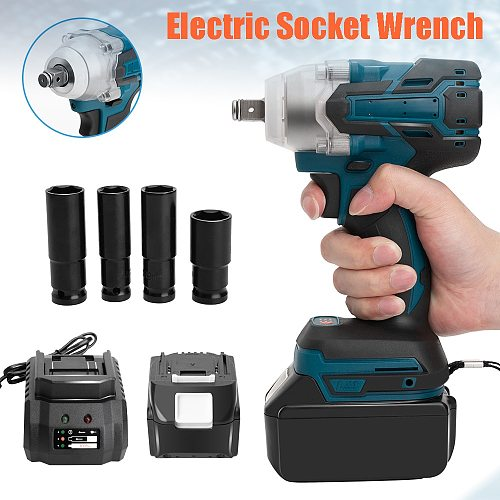 18V Electric Rechargeable Brushless Impact Wrench Cordless Socket Wrench For Makita Battery DTW285Z +Socket Set+ 7500mAh Battery