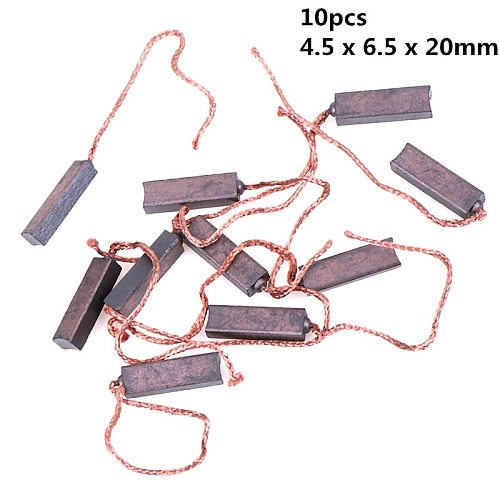 New 10Pcs Carbon Brushes Wire Leads Generator Generic Electric Motor Brush Replacement 4.5 x 6.5 x 20mm