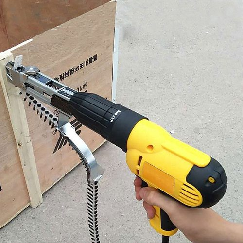 1PC Automatic Screw Spike Chain Nail Gun Adapter Screw Gun for Electric Drill Woodworking Tool Cordless Power Drill Attachment