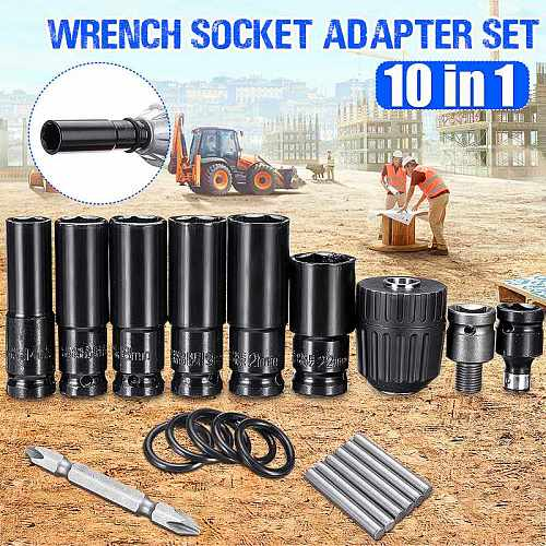 10pcs Electric Impact Wrench Hexs Socket Head Set Kit Drill Chuck Drive Adapter SET for Electric Drill Wrench Screwdrivers