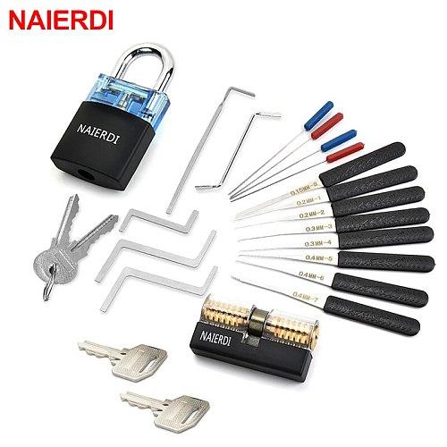 NAIERDI Locksmith Supplies Tension Wrench Tool Practice Lock Pick  Set Combination Padlock Broken Key Hand Tools Hardware