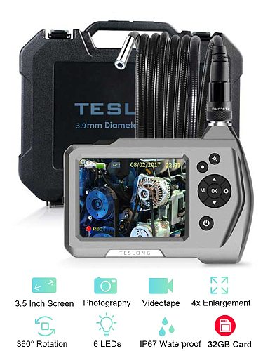 NTS150 1.0MP HD 3.5  LCD Monitor Car Endoscope Sewer Inspection Camera 5.5mm 3.9mm Diameter Snake Tube Borescope 6 LEDS 720p