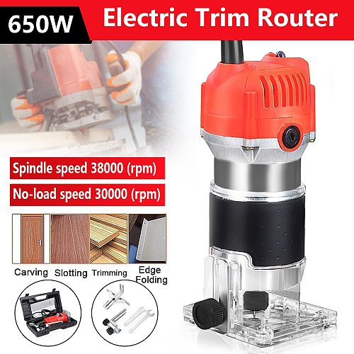 Electric Hand Trimmer Router Wood Carving Machine With Carrying Case Woodworking Wood Milling Slotting Machine Power Tools