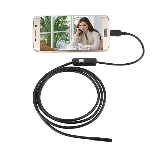 Black 6 LED 7mm Lens Cable Waterproof Mini USB Inspection Borescope Camera For Android Endoscope 640*480 Phones/1280*720 PC
