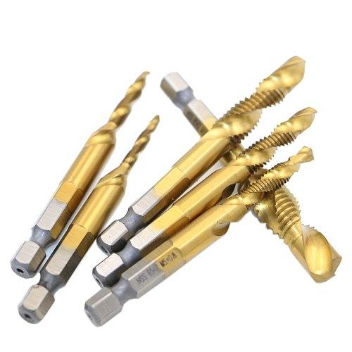 6pcs Titanium M2 Hex Shank Hand Tap HSS Screw Spiral Point Thread Metric Plug Drill Bits M3 M4 M5 M6 M8 M10 fit Metal Steel