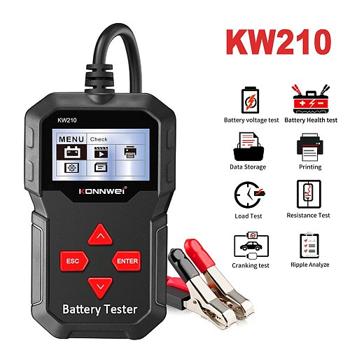 Car Battery Load Tester KONNWEI KW210 12V 100-2000 CCA Professional Automotive Alternator Digital Analyzer Waveform Voltage Test
