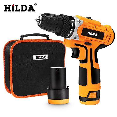 HILDA 12V Electric Drill Electric Screwdriver Cordless Screwdriver rechargeable lithium cordless drill Power Tools