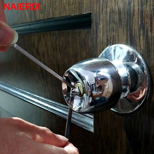 NAIERDI 5PCS Locksmith Hand Tools Supplies Broken Key Extractor Remove Removal Hooks Lock Kit Lock Pick Set Hardware