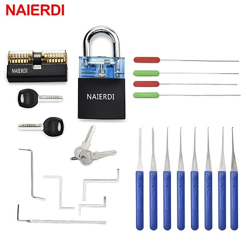 NAIERDI Locksmith Supplies Hand Tools with Practice Lock Pick Set Tension Wrench Broken Key Tool Combination Padlock Hardware