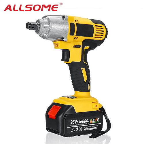 ALLSOME 98VF 320Nm Electric Impact Wrench Rechargeable 1/2 Socket Wrench Power Tool Cordless HT2786