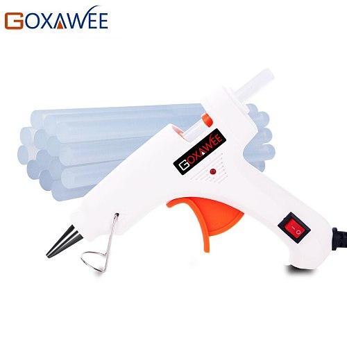 GOXAWEE 20W 80W 105W Hot Melt Electric Heat Glue Gun Brass Nozzle with 10pcs Hot Melt Glue Sticks Craft Repair Home DIY Tools