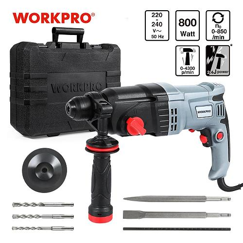 WORKPRO 230V 26mm 4 Functions AC Electric Rotary Hammer with BMC and 5pcs Accessories Impact Drill Power Drill Electric Drill