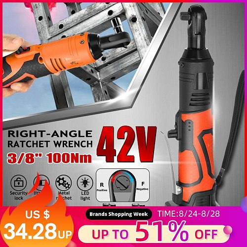 New 42V Electric Wrench Angle Drill Screwdriver 3/8'' Cordless Ratchet Wrench Scaffolding 100NM With 1/2 Lithium-Ion Battery