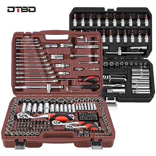 DTBD Socket Set Universal Car Repair Tool Ratchet Set Torque Wrench Combination Bit A Set Of Keys Multifunction DIY Tools