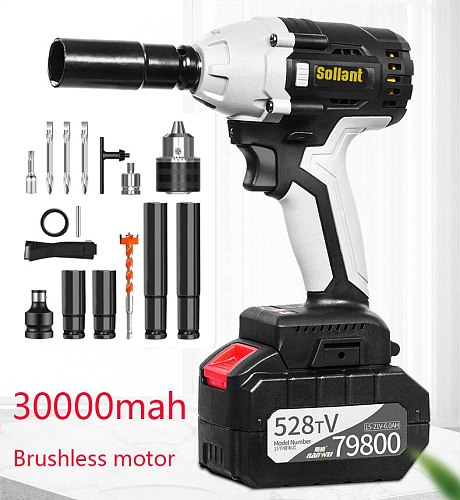 Sollant 30000mah Electric Impact Wrench Corded 1/2-Inch , 980N.m Max Torque, 3800rpm speed  Impact nut wrench power tools