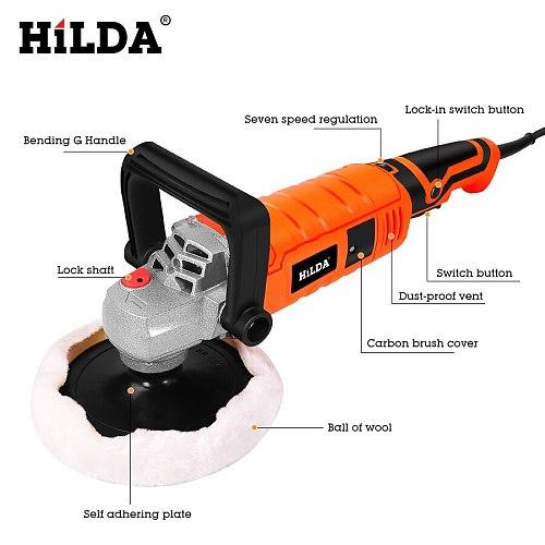 HILDA 1200W Car Polisher Variable Speed 3000rpm Car Paint Care Tool Polishing Machine Sander 220V M14 Electric Floor Polisher
