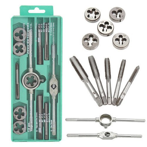 12pcs/set Multifunction NC Screw Tap & Die Set External Thread Cutting Tapping Hand Tool Kit Thread Screwdriver with M6 M7 M8 M1