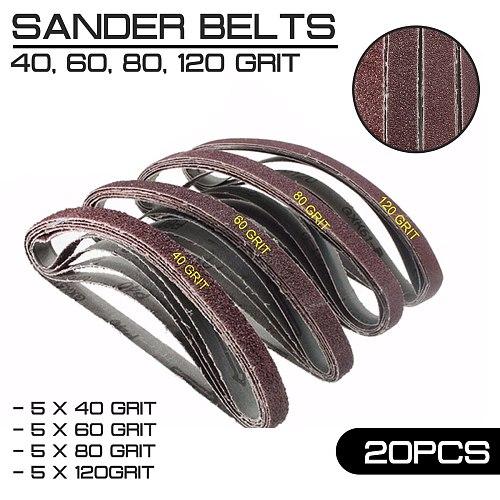20pcs/Pack for Air Belt Sander 13mm x 457mm Powerfile Sanding Sander Belts Paper Mixed Grit 40 60 80 120
