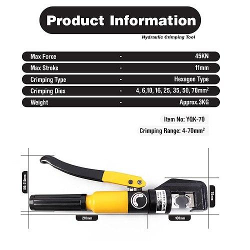 Hydraulic Crimping Plier YQK-70 Hydraulic Crimping Tool Hydraulic Compression Tool Range 4-70mm Pressure 6T