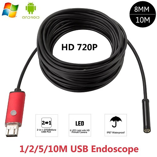 Android USB Endoscope 2 in1 2MP 1M 2M 10M HD Camera 8mm IP67 Walterproof Snake USB Camera HD 720P Android Mobile USB Borescope