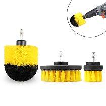 NEWONE 2/3.5/4 inch Electric Drill Brush Power Scrubber Yellow Medium Stiffness Bristles Bathroom&Shower Cleaning Non-scratches