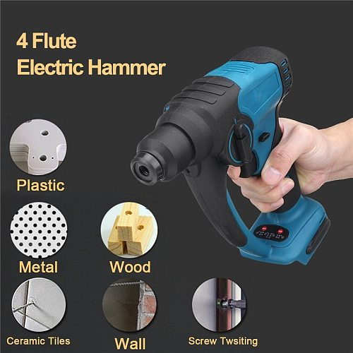 18V Brushless Cordless Hammer Drill Rechargeable Electric Rotary Hammer Impact Drill Power Tools For Makita Battery