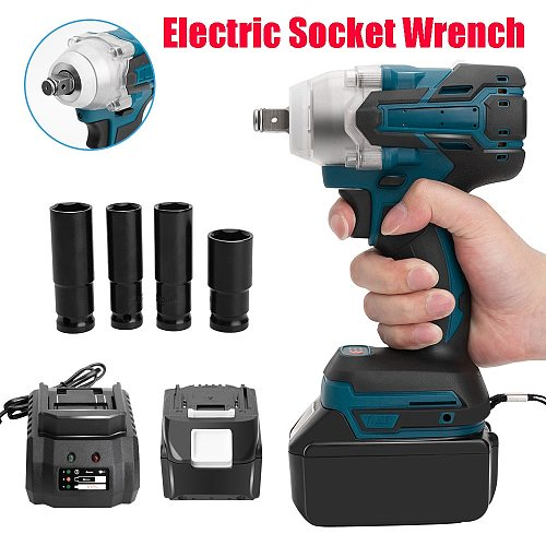 18V Cordless Impact Wrench Brushless Electric Wrench 520Nm Torque Rechargeable For Makita Battery+Socket Set+ 7500mAh Battery