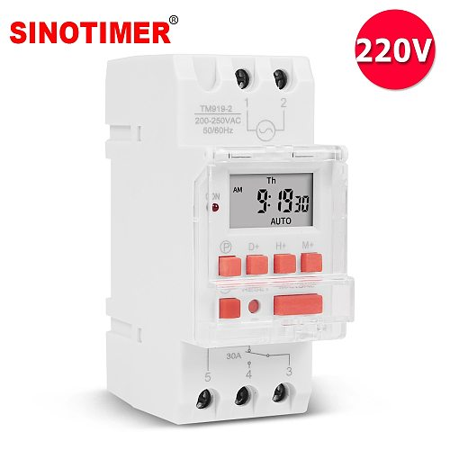 Heavy Duty 5000W 30A Weekly 7 Days Programmable Digital Time Switch Relay Timer Control AC 220V 230V Din Rail Mount